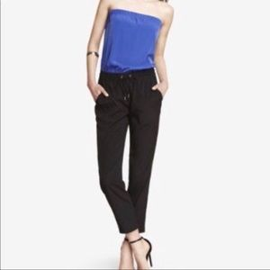Express Blue Black Strapless Jumpsuit
